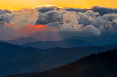 Clingman's Dome, Great Smoky Mountains photo, sunset,