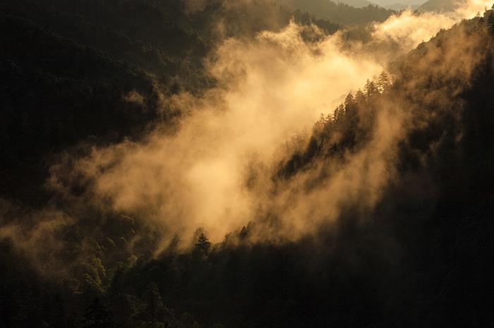 Mortons Overlook, Newfound Gap Road, Jeremy Brasher, Mist, light, photo, Smokies, scenic pictures, Great Smoky Mountains, photo