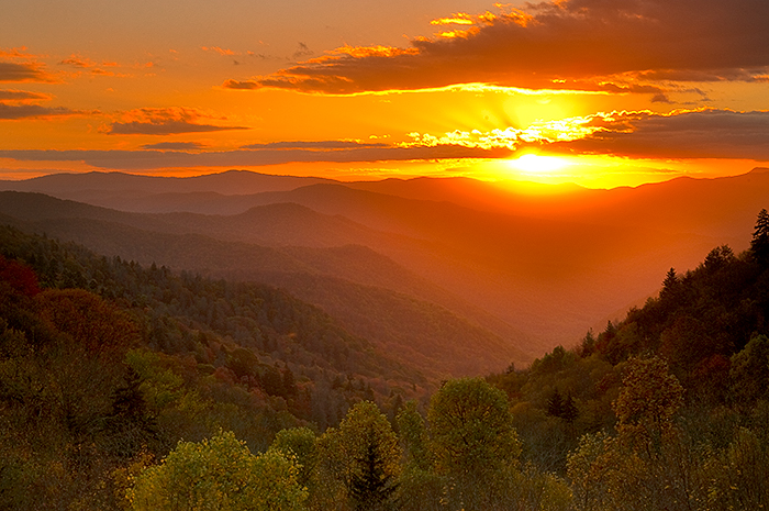 Oconaluftee Valley Overlook,Great Smoky Mountains National Park, sunrise, Tennessee,  , photo